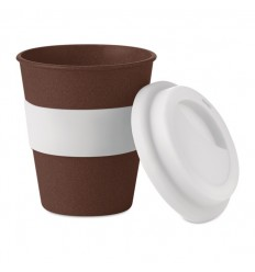 Vaso ecológico de cáscara de café y PP con agarre de silicona publicitario