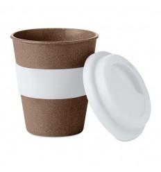 Vaso de café de fibra de bambú con banda de silicona publicitario