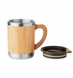 Taza de acero inoxidable con carcasa de bambú 300ml publicitaria