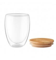 Vaso de vidrio con tapa de bambú ecológica 350ml publicitario