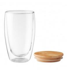 Vaso de cristal de doble pared con tapa de bambú 450ml publicitario