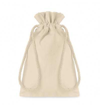 Bolsa pequeña de algodón beig para regalos publicitaria