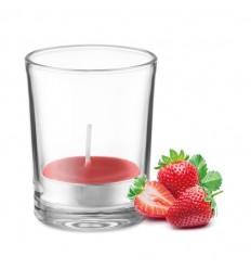 Vela aromática con porta velas de cristal publicitaria Color Rojo