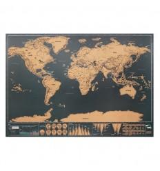Mapamundi de papel cromado para rascar publicitario
