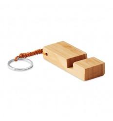 Llavero de bambú con soporte para móvil publicitario