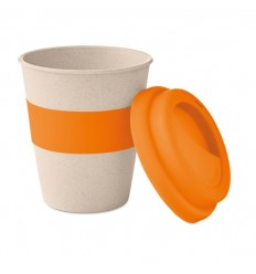 Vaso con tapa y banda de silicona ecológico 350ml publicitario