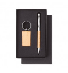 Juego de bolígrafo y llavero de metal y madera personalizado Color Madera