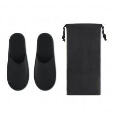 Zapatillas de hotel de poliéster con bolsa non-woven publicitaria