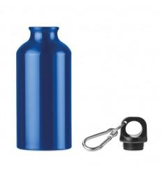 Botella de aluminio de una capa con mosquetón 400 ml publicitaria