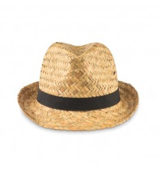 Sombrero de paja natural con cinta de poliéster publicitario