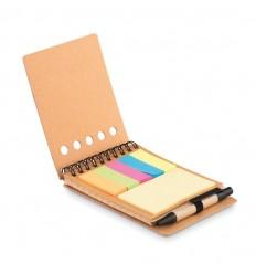 Cuaderno con tapa de corcho y bolígrafo ecológico publicitario