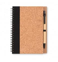 Bloc de notas ecológico con bolígrafo de cartón publicitario Color Negro