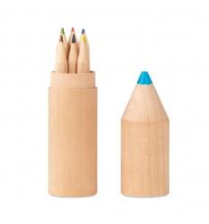 Estuche de madera con forma de lápiz con 6 lápices publicitario