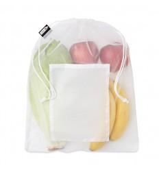 Bolsa rejilla para comida de RPET con bolsillo publicitaria
