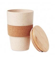 Vaso ecológico con tapa de bambu y banda de corcho 420ml publicitario