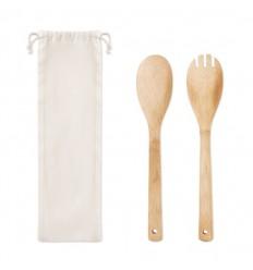 Set de utensilios para ensalada de bambú personalizado