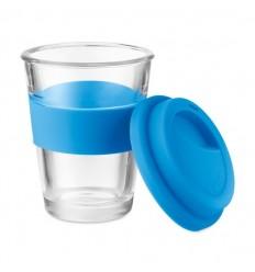 Vaso de cristal con tapa y agarre de silicona 350ml publicitario