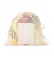Mochila saco de malla con bolsillo de algodón promocional