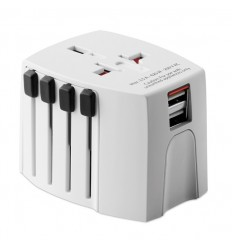 Adaptador compacto SKROSS con USB publicitario Color Blanco