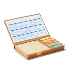 Set de notas con calendario publicitario Color Beige