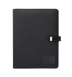Portafolio A5 con cargador inalámbrico publicitario Color Negro