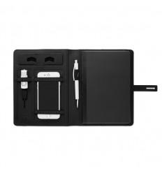 Portafolio A5 con cargador inalámbrico para publicidad