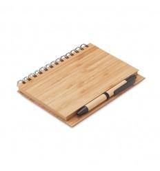Cuaderno con tapa y bolígrafo de bambú publicitario
