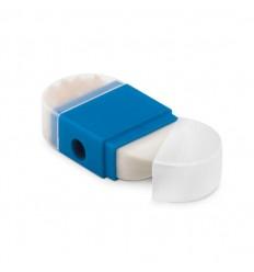 Sacapuntas con goma publicitario Color Azul