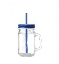 Jarra de cristal con tapa y pajita 450ml publicitaria Color Azul