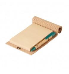 Cuaderno y bolígrafo de bambú publicitario