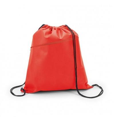Mochila Saco Non-Woven con Bolsillo Personalizada Color Rojo