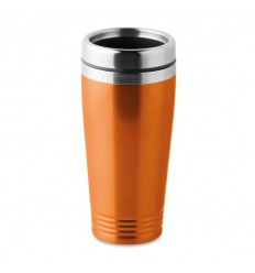 Taza inoxidable con tapa 400ml publicitaria Color Naranja