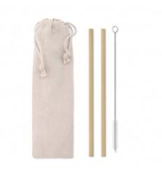 Set de pajitas de bambú con cepillo limpiador publicitario Color Beige