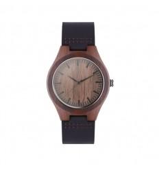 Reloj analógico ecológico con correa de piel publicitario Color Marrón
