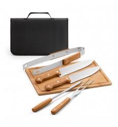 Kit barbacoa 5 piezas con tabla de bambú y estuche publicitario