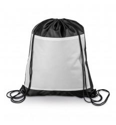 Mochila saco de poliéster con bolsillo frontal personalizada Color Negro
