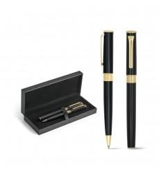 Set de bolígrafo y roller de metal con baño de oro publicitario