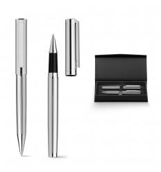 Bolígrafo y roller de metal con caja acolchada publicitario