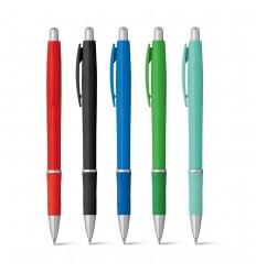 Bolígrafo de plástico con goma antideslizante publicitario