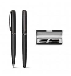 Set de bolígrafo y roller de metal con estuche publicitario