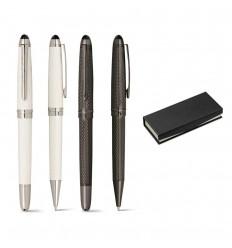 Juego de bolígrafo y roller metálicos publicitario
