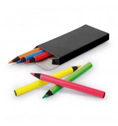 Caja con 6 lápices fluorescentes de madera de colores publicitaria