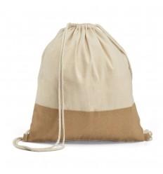 Mochila saco de algodón con detalle de yute personalizada Color Natural