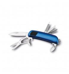 Navaja multiusos de acero inoxidable y goma personalizada Color Azul royal