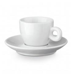 Taza de té con plato de porcelana 100 ml personalizada Color Blanco