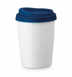 Vaso porcelana con tapa de silicona 280 ml barato Color Azul