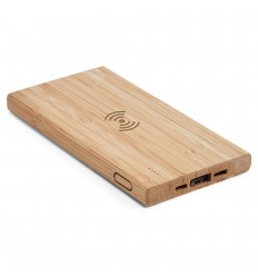 Batería portátil de bambú personalizada Color Natural