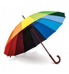 Paraguas arcoiris con mango de madera personalizado Color Multicolor