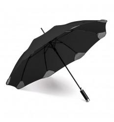 Paraguas de poliéster con mango imitación cuero personalizado Color Negro