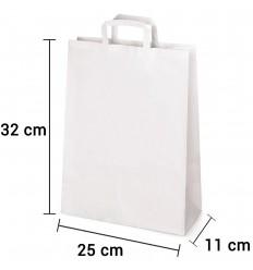 Bolsa de papel blanco con asa plana de 25x11x32 cm